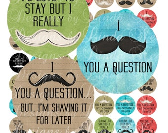 Instant Download - NEW- Mustache Quotes (1 inch round) Bottlecap Images  Sale - Digital Collage Sheet printable stickers magnet button