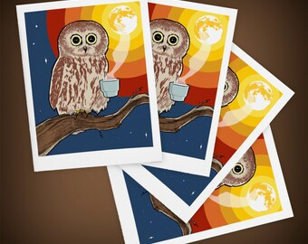 Coffee Owl Blank Greeting Cards Size A2 Mini Art - Set of FOUR