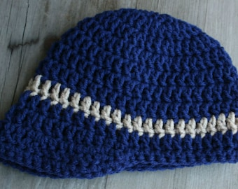 Baby Boy Crochet Hat with brim. Navy blue with tan stripe 6-12 mo.