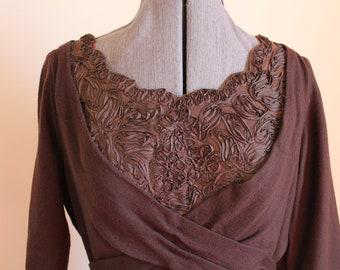 1950s Chocolate Brown Wiggle Dress Medium Large