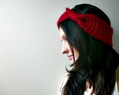 Headband Vintage Inspired Hand knitted in Cranberry Red - Winter Fashion Accessories Holiday Gift under 30