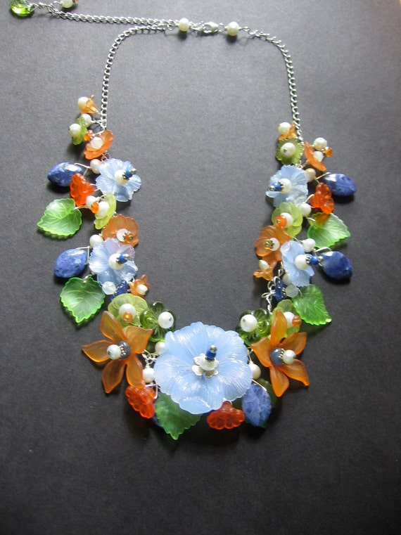 Flower Necklace - Lucite, Sterling Silver, Pearl, Glass, Carnelian by Simple Elements Design