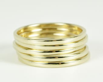 14K Yellow Gold Stacking Rings set of five, Eco Friendly, sizes 6.25-9 this listing, Sea Babe Jewelry