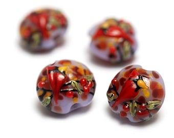 Glass Lampwork Bead Set - Four Autumn Red Cardinal Lentil Beads 11007712