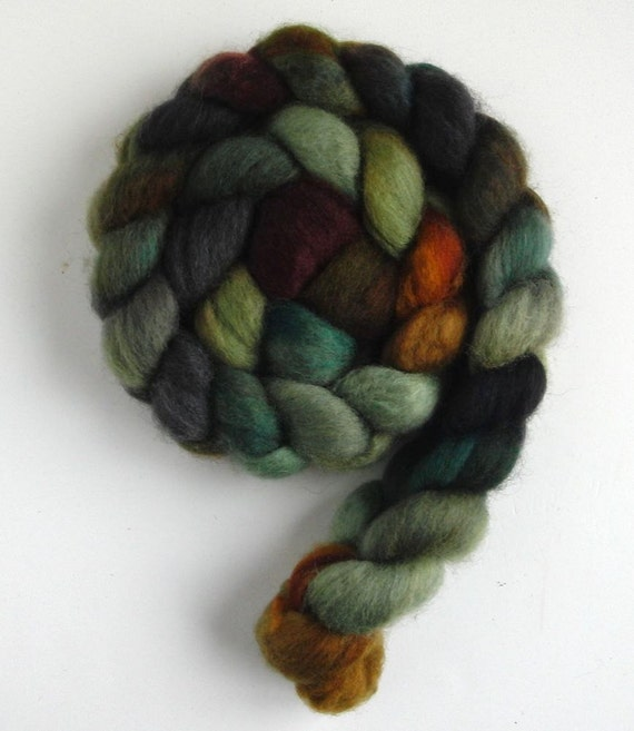 BFL Wool Roving (Top) - Handpainted Spinning or Felting Fiber, Stone House