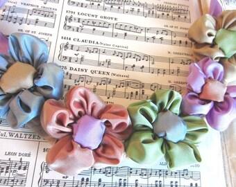 Ribbon daisy bib statement necklace -- French ribbon daisies in pastel hues -- handmade conversation jewelry