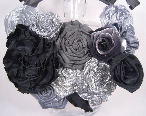 Black, Silver ribbon rose bib statement necklace -- French ribbon roses in black and silver