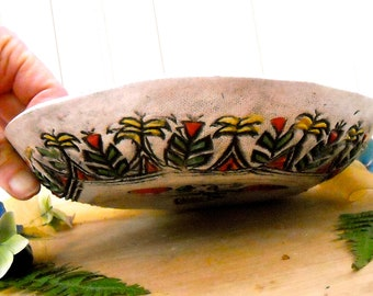 SALE, Flower Bowl - Rustic Textured Midwest Stamped Tribal Landscape Ceramic Serving Dish - Colorful Whimsical Painted Country Cottage Decor