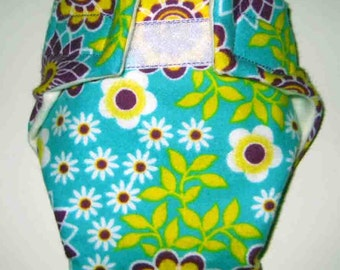 Baby Doll Cloth Diaper/Wipe - Weird Pretty Flowers - Adjustable to Fit Bitty Baby, Baby Alive, Cabbage Patch Dolls and More