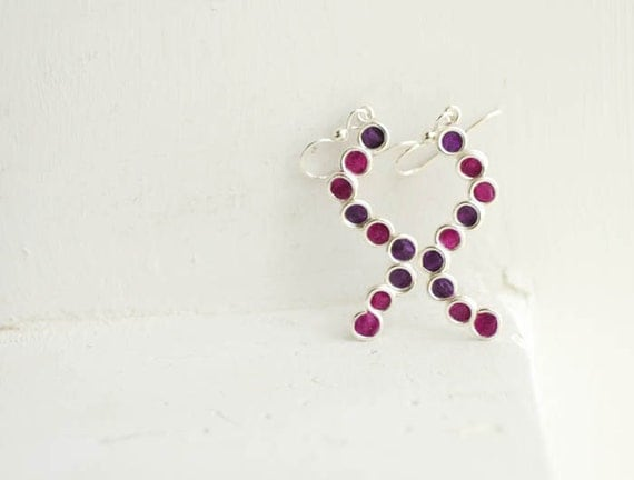 Bubble Earrings Plum Purple Sterling Silver Dangle, 1st Anniversary Gift Paper Jewelry Minimalist Minimal Jewelry Artisan Wearable Art