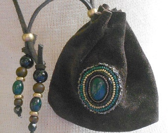 Beaded Bloodstone / Brown Suede Leather Necklace Pouch - Adjustable Length - Medium Size 9x8.5 cm. (3 5/8 in. x 3 1/2 in.) - OlyTeam