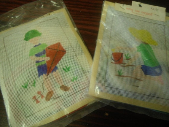 Lot of 2 Hand Painted Canvas Needlepoint Kits Boy with Kite and Girl on Beach Mary Ann Originals