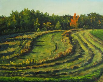 Fiery Maple, original plein air oil painting on linen