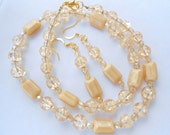 RESERVED FOR TAMMY Golden Crackle Glass Vanilla Creme Necklace Earrings