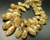 1/2  Strand- Large Extremely Beautiful Golden Rutilated Quartz Faceted Marquise Briolette -18 mm -rf1