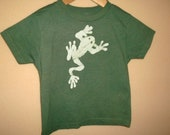 Genuine Batik Frog Childrens Tee, Created using a Super Soft, Made in the USA American Apparel Tee, Hand Dyed in a Dark Sage Green.
