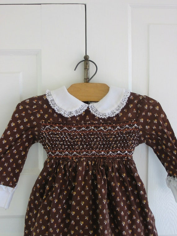 Girl Dress Children Clothes Smocked Fall Autumn Brown 12 Months