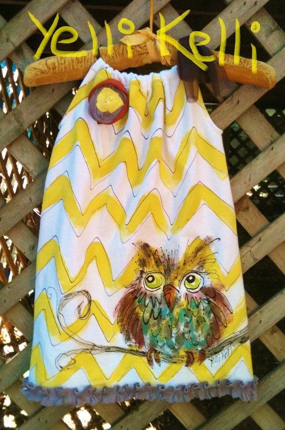 Chevron Owl Pillowcase Dress Hand Painted Made To Order