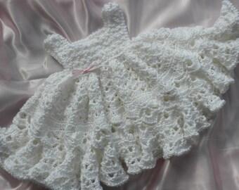 White Crocheted Baby Girl Dress With Full Ruffled Skirt, Christening Dress, Blessing Dress, Crochet Baby Dress, Photo Prop Baby Dress