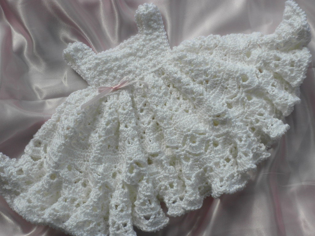 Crochet Ruffled Baby Dress Pattern : White Crocheted Baby Girl Dress With Full Ruffled Skirt