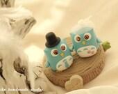 Owls with stump Wedding Cake Topper---k521