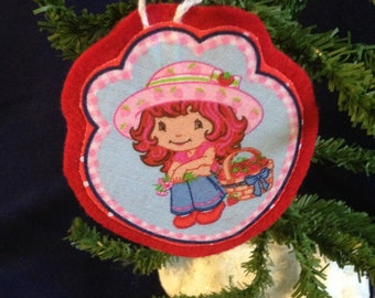 Ornament made with Strawberry Shortcake fabric (not a licensed product)