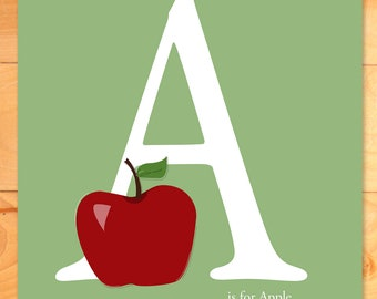 Childrens Wall Art, Personalized Art Print, Nursery Decor, A is for Apple is for Custom Letter and Name art print