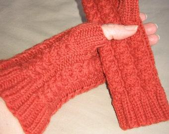 Paprika Red Merino Hand Knit Fingerless Gloves