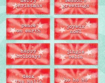 FESTIVE SAYINGS Digital Collage Sheet 2x1in Christmas Greetings - no. 0062