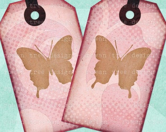 Printable Tags PRETTY PINK BUTTERFLIES Digital Collage Sheet - no. 0047