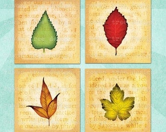 LEAVES in FALL COLOURS Digital Collage Sheet 1.5in or 1in Squares Printable Download - no. 0155