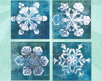 Digital Collage Sheet SNOWFLAKES on Grunge Backgrounds 1.5in or 1in Squares Printable Download - no. 0028
