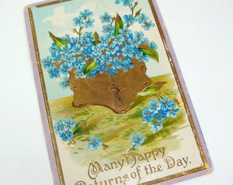 Vintage Postcard, Embossed, Blue Flowers, Many Happy Returns Of The Day, Saxony, Antique Paper Ephemera, Old Post Card, Used  (1564-09)
