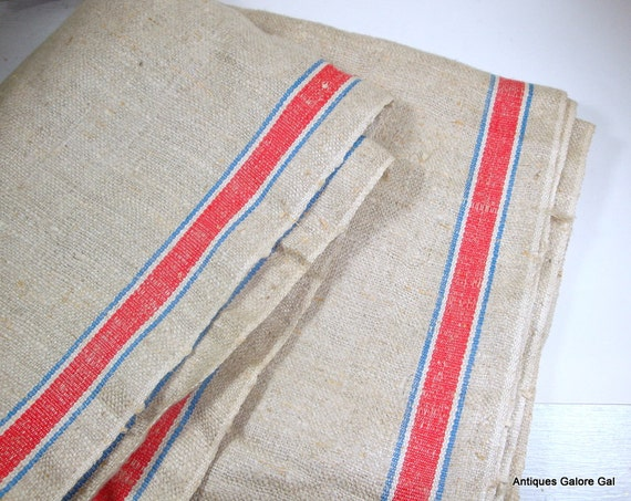 Vintage Fabric, Linen Flax, Red and Blue Stripe  (692-12)
