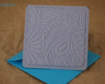 Blank Mini Card Set of 10, Embossed Floral Tone on Tone Smoky Gray, Bright Aqua Envelopes, mad4plaid