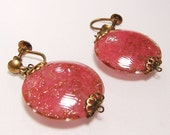 Vintage Pink Art Glass Earrings with Gold Glittery Sparkle B2