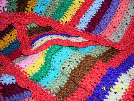 Crochet Patterns Multicolor Yarn : hand crochet afghan multi-color yarn close stitch pattern