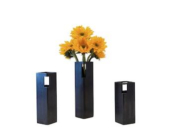 "Blackened Steel Flower Vase - 10"" Height"