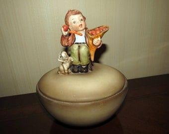 Vintage Boy Dog Figure Candy Dish Covered - Hummel Style