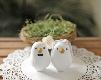 Custom Wedding Cake Topper -  Small Hand Painted Love Bird Cake Topper