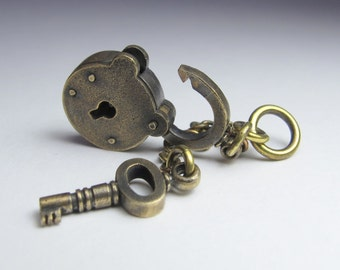 PADLOCK smallest ever vintage style with working key in solid brass