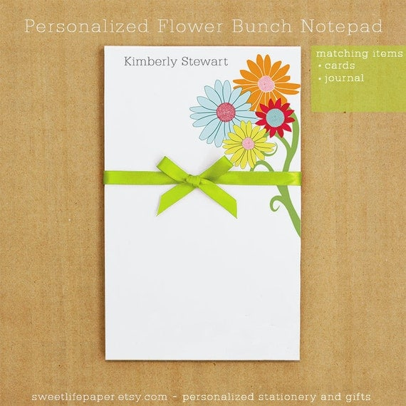 Personalized Flower Bunch Notepad Stationery - 50 sheets