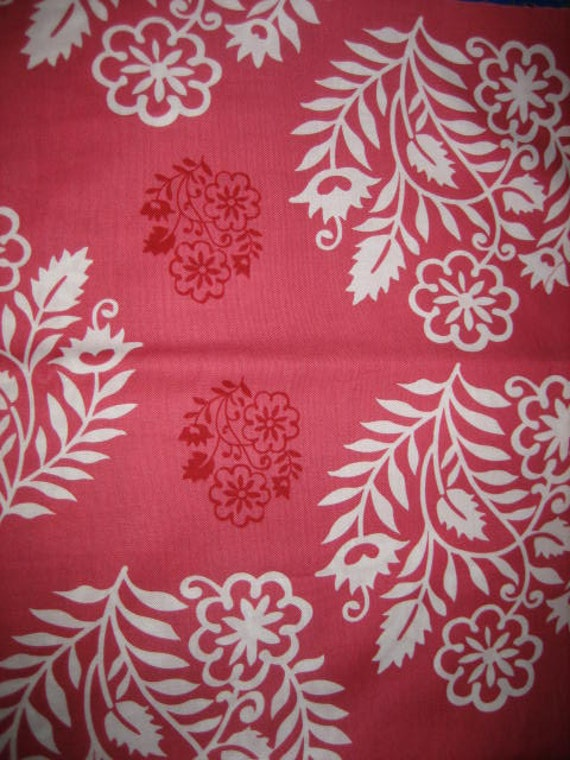 Amy Butler Temple Flowers Wedding Floral Red fabric 1 yard