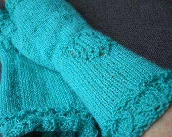 Elegant jade green ladies fingerless gloves