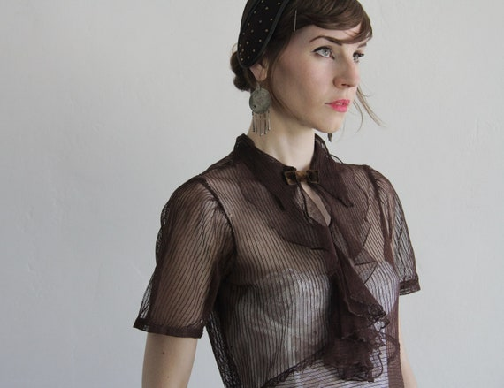 RESERVED 1940s Sheer Blouse . Vintage Mesh Top . Ruffle Front Shirt . Velvet Bow