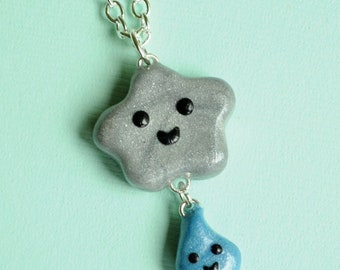 Kawaii Happy Grey Cloud and Raindrop Charm Necklace Weather Jewelry
