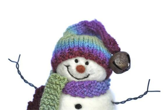 Needle Felted Snowman -  Wool Snowmen - Christmas 109