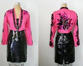 vintage 80s Rhinestone Cowgirl Black Sequin Cache Dress and Hot Pink Sequin Cropped Jacket Bolero- Instant Halloween Costume