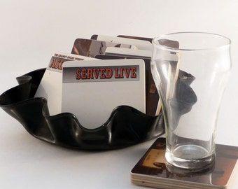 ASLEEP at the WHEEL upcycled Served Live album cover coasters and wacky vinyl bowl