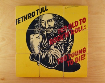 Jethro Tull recycled mismatched album cover coasters and record bowl